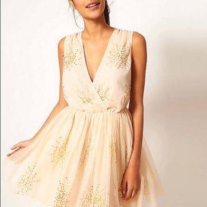 ASOS Cream Mesh Sequins Embellished Party Dress 6